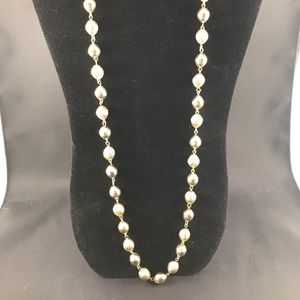 Vintage long gold bead necklace